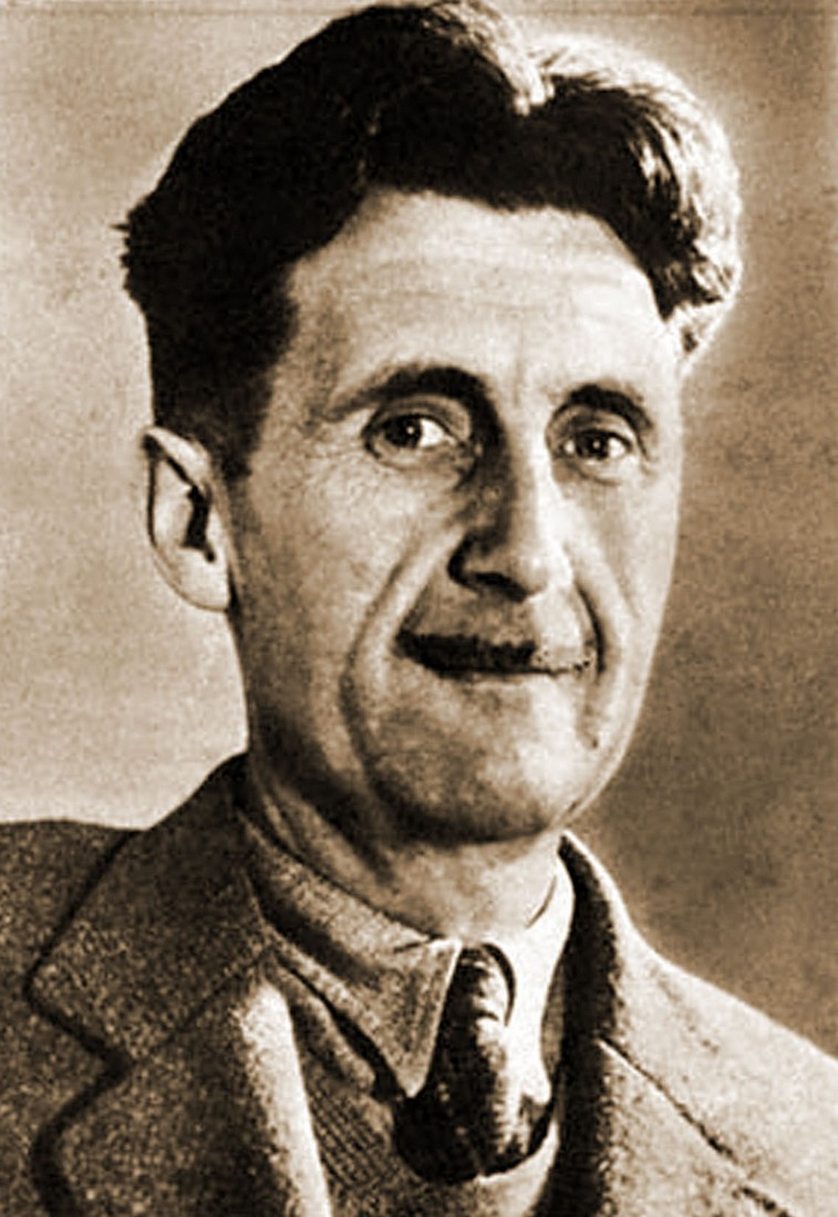 George Orwell sepia ojos sonrientes
