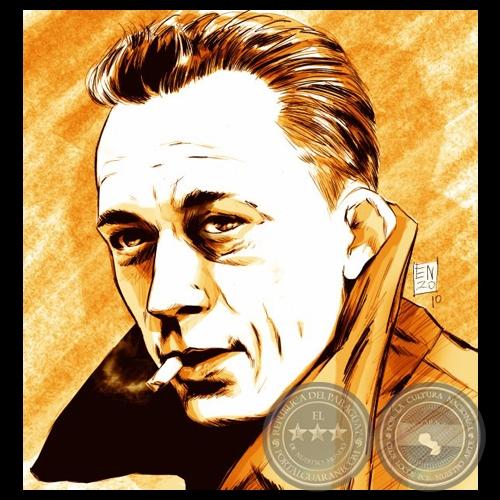 Albert-Camus-ensayista-caricatura-de-enzo-pertile-portalguarani